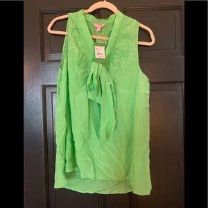 NWT Lime Green Dahlia silk Top - L